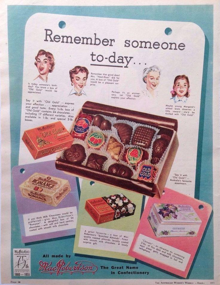 MAC.ROBERTSON S OLD GOLD CHOCOLATE AD 1955 original vintage AUSTRALIAN advert