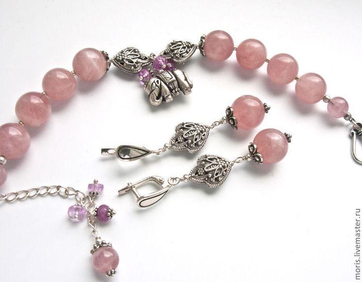 """Купить Комплект браслет и серьги серебро """"Розовый слоник"""" розовый кварц ... - браслет из камней"""