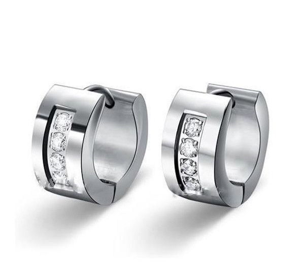 CZ Stone Hoop Stainless Steel Earrings. With Cubic Zirconia, 100% Stainless Steel (316L)Be sure to add this unique jewelry to your own private collection! - 316