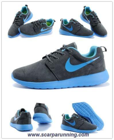 siti scarpe Uomo-Donna Nike Roshe Run Charcoal Gray/Cold Gray/Lake Blu