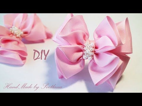 Бантик из репсовой ленты на резинке  Канзаши для начинающих Grosgrain ribbon bow Laco de fita - YouTube