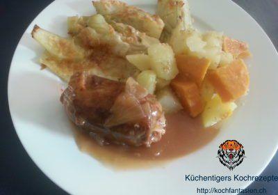Rindsrouladen (Fleischvögel), Kartoffeln und gratinierter Fenchel – Küchentigers Rezepte Blog