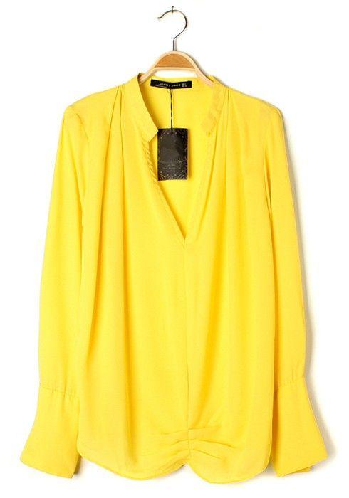 Yellow Ruffle V-neck Clipping Long Sleeve Chiffon Blouse
