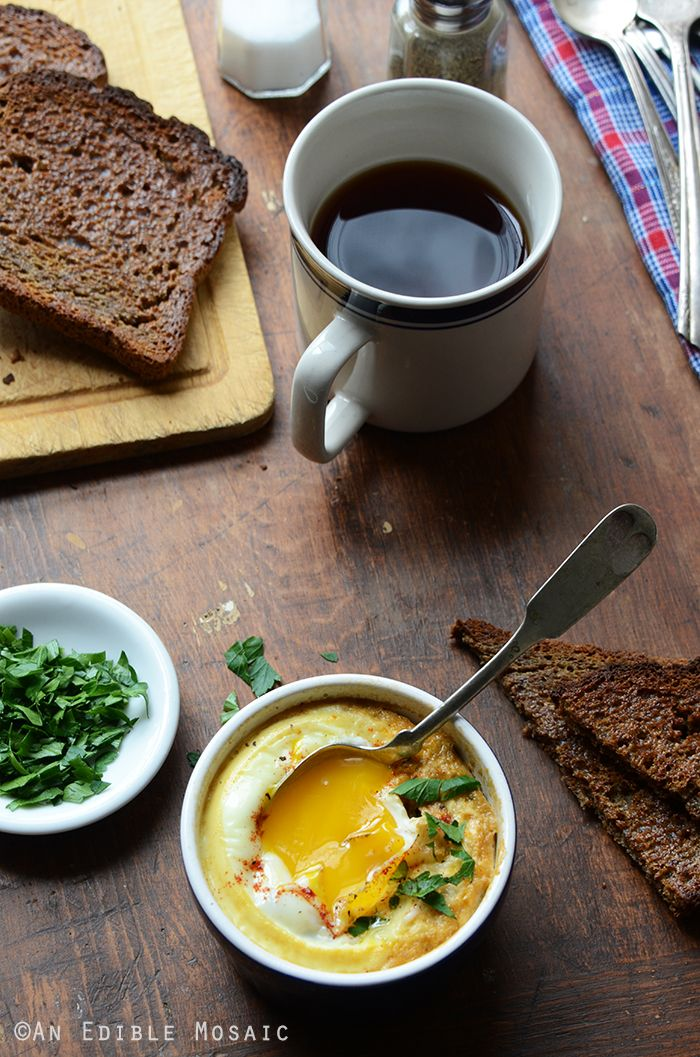 Baked Eggs with Smoky Caramelized Onion and Wilted Chard {Lactose-Free; Gluten-Free} www.anediblemosaic.com