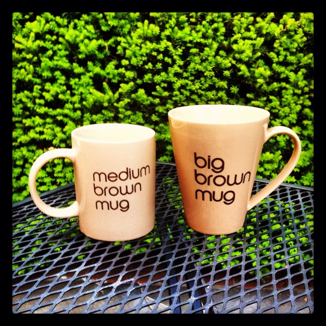 Who doesn't pick the big brown mug (or big brown bag, for that matter!)