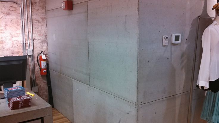 Cement Board Used As A Wall Covering Urban Outfitters Nyc Industrial Architecture