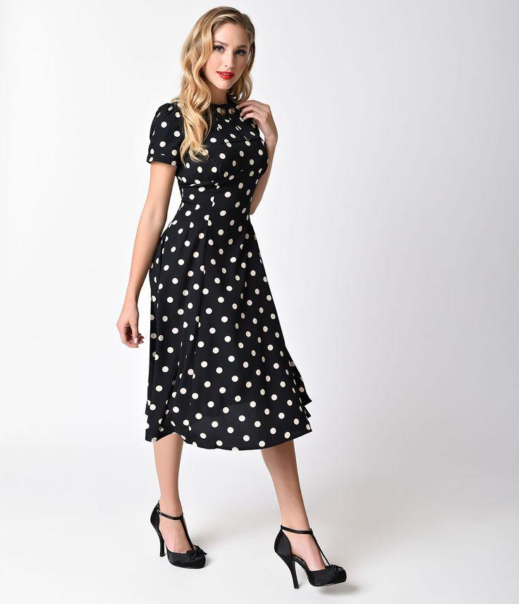 1930s Style Fashion Dresses Polka Dot Madden Swing Dress  Size XL $72.00 AT vintagedancer.com