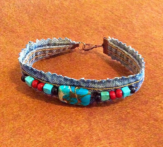Jeans Bracelet, Bohemian Style,  with Imperial Jasper and Glass Beads.
