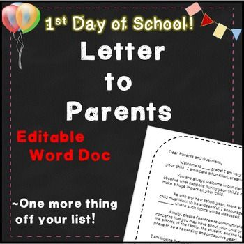 "First Day of School Letter to Parents! I have used this ""first day of school letter"" across grade levels. It is a Microsoft Word document, so it can be easily edited for your first day of school!In the preview, I used Jamie's Beautiful font for this letter. #BestFirstWeekEver"