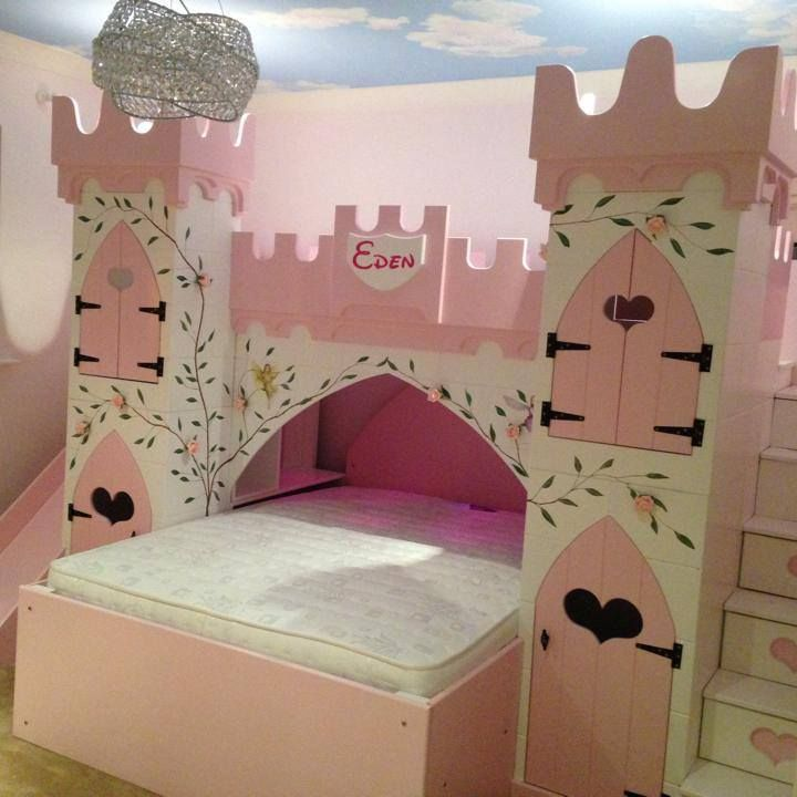 This princess castle bed is a great and beautiful way to create a princess room. It has storage in the stairs and wardrobes and shelves in the towers, along with book cases on the inside next to the bed and remote controlled pink LED lights in the ceiling in the bottom. Truly luxury for any deserving princess.