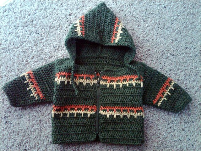 Free crochet pattern Jacket, sweater, hoodie Baby toddler child  Green crochet hoodie front - hilljo by HiLL.jO, via Flickr