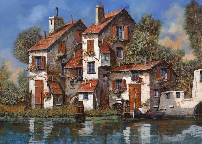 il cielo blu sopra il torrente by Guido Borelli