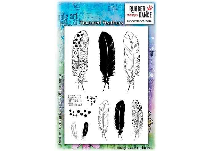 Textured Feathers. Sheet of UN-mounted, red rubber stamps. Gorgeous, matching feather stamps.