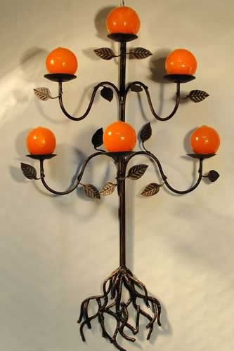 Wrought Iron Wall Tree Candle Holder