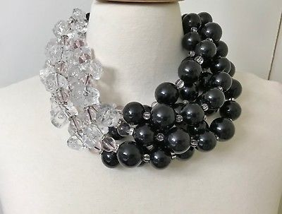 Gorgeous-Black-Acrylic-Beads-amp-Resin-Necklace-In-The-Style-of-Angela-Caputi