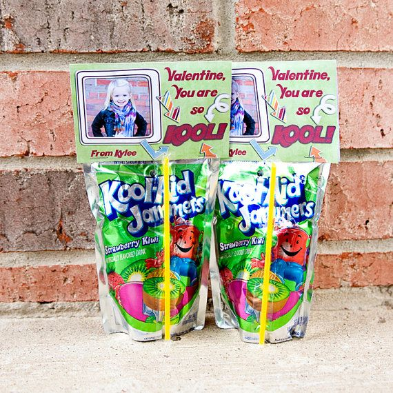 diy Kool-aid Printable Custom Photo Valentine Treat Bag Topper