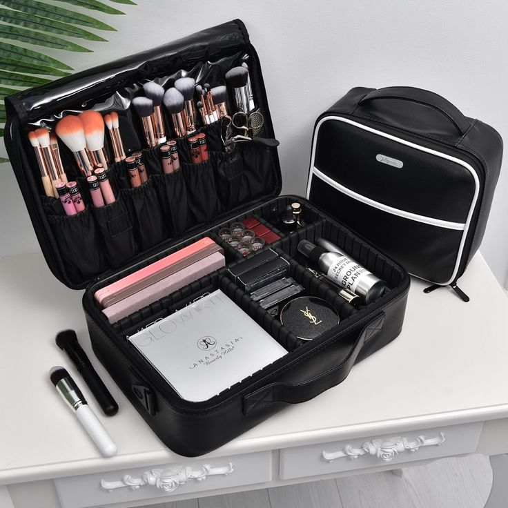 Black Portable Large Travel PU Leather Soft Makeup Bag With Removable Dividers