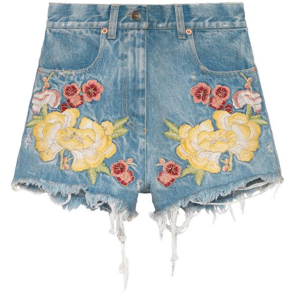 Gucci Embroidered Denim Short (€1.005) ❤ liked on Polyvore featuring men's fashion, men's clothing, men's shorts, denim, ready-to-wear, women, mens floral shorts, mens light blue shorts, gucci mens shorts and mens zipper pocket shorts