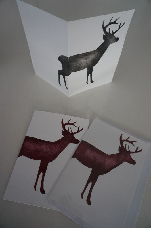 """NEW!  hand painted """"Stag"""" card by Claire Webber, Hobart, Tasmania.  Each card is individually hand painted using eco-friendly water based paints.  $7 each  For more info, please email: webberclaire1@gmail.com"""