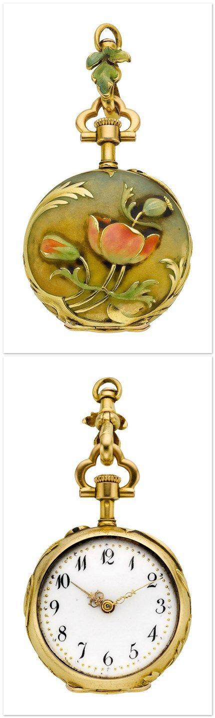 Henry Capt Miniature Art Nouveau Enamel, circa 1910.