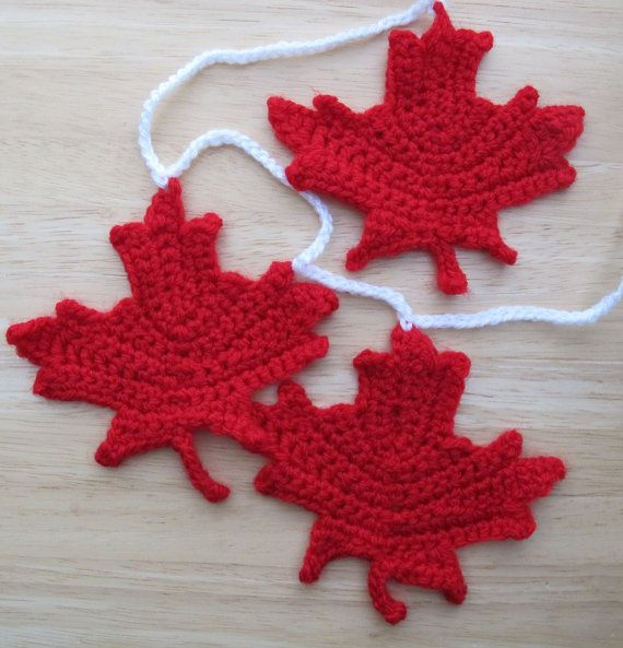 Maple Leaf Garland 5 ft / Crocheted maple by SassySudburySisters, $45.00