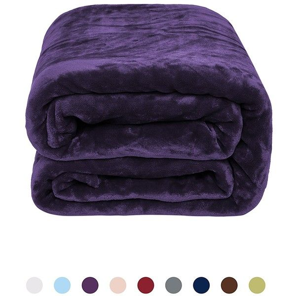 Flannel Fleece Blanket Bed or Couch Throw by NEWSHONE(50inX60in,... ❤ liked on Polyvore featuring home, bed & bath, bedding, blankets, flannel throw, fleece throw blanket, brushed cotton bedding, fleece throw and purple throw