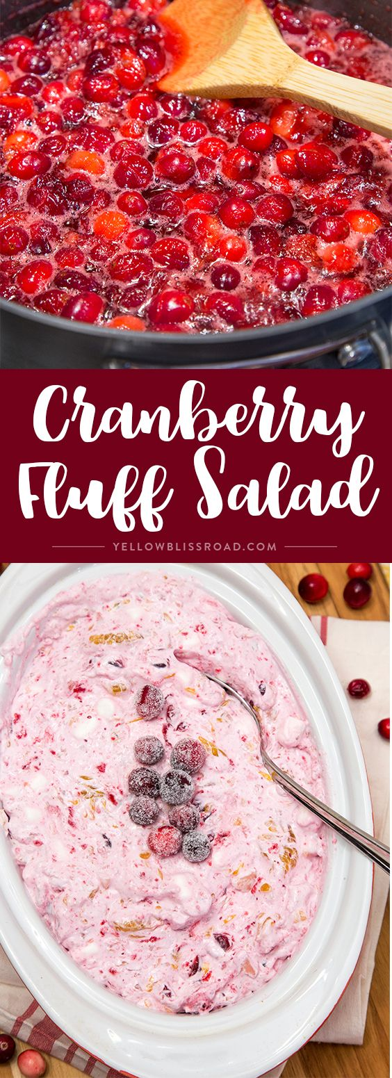 This Cranberry Fluff Salad is the perfect side dish or dessert for the holidays! via @yellowblissroad