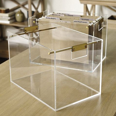 The chic silhouette of our Livy File Box is hand crafted of 1/2 thick, clear acrylic that creates a showcase for your favorite file folders. Handles and racks are made of steel and finished in brass for stylish contrast. Livy File Box features: Coordinates with our Livy Clipboard & TrayEasy to see what's inside