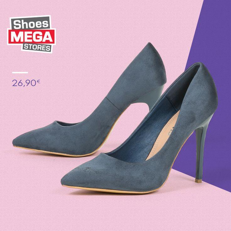 Εντυπωσιακές γόβες στιλέτο σε μπλε απόχρωση. Με βελούδινη υφή, διαθέτουν τακούνι ύψους 10 cm. Γυναικεία παπούτσια με έντονη διάθεση άνοιξης μόνο από τη νέα μας συλλογή. #shoesmegastores #goves #veloute