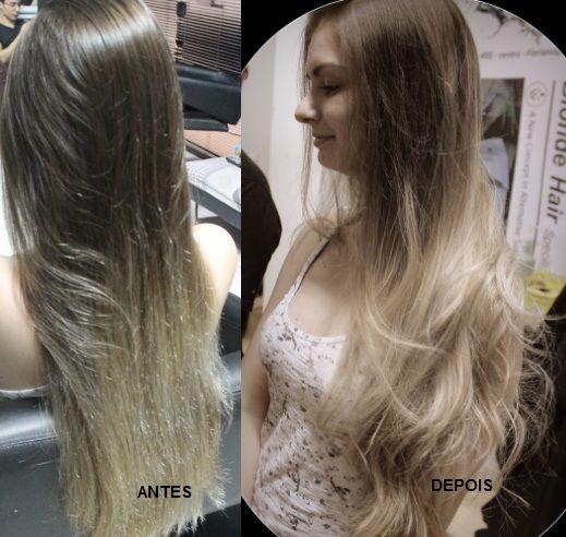 Katia Miyazaki Coiffeur - Salão de Beleza em Floripa: ANTES E DEPOIS - ombre hair - loiro platinado - gr...
