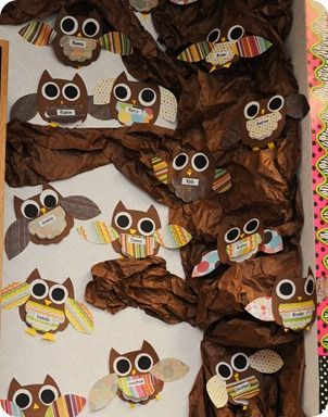need to find a picture book for owls, create writing prompt, then make these owls w/ the prompt tucked under their tuff of fur on their chest