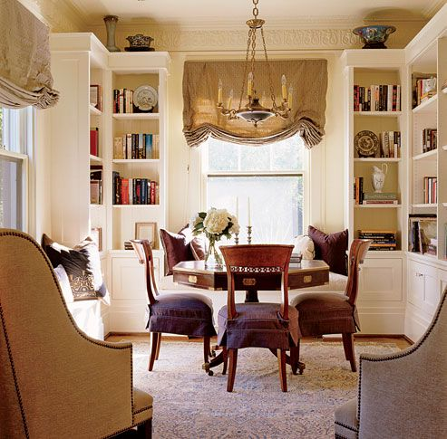 Dining Library With Corner Bookcases And Window Seats Libraries Desks Amp