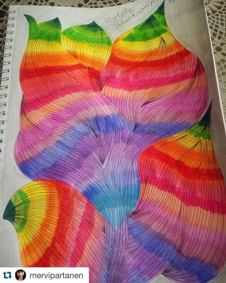 So nice and happy colouring by @mervipartanen A page from Mielikuvia vol 1 colouring book #värityskirja #coloringbook #colouringbook #kolorowanka #malbuch #målarbok #rainbow #sateenkaari #Repost @mervipartanen with @repostapp. ・・・ Martalle sateenkaarisilta. #mielikuvia #päivivesala #paivivesala_art #colourlove #voimaaväreistä #adultcoloringbook #aikuistenvärityskirja #värityskirjaaikuisille