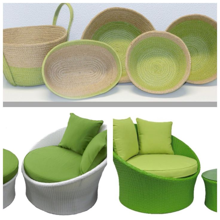 Jute bowls and green wicker Grace Chair