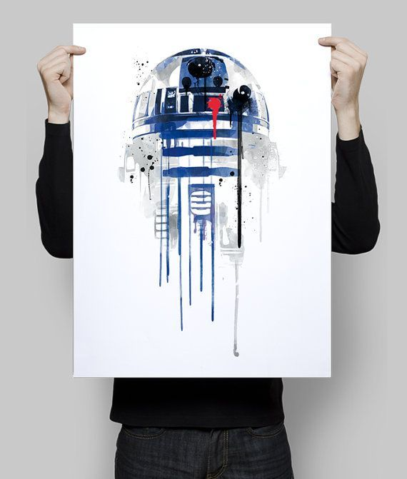 Watercolor r2d2 star wars robot alternative poster scifi nerd movie poster film retro wall art home decor geek poster