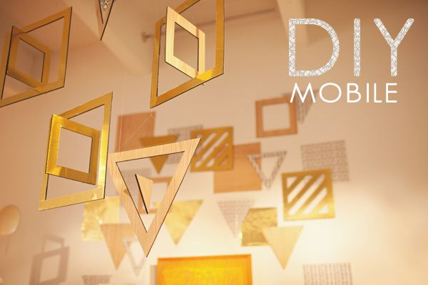 DIY geometric mobile tutorial! instead of a chandelier in our apt?: Mobiles Tutorials, Diy Geometric, Geometric Mobiles, Ceremony Backdrops, Cream Events, Hanging Decor, Diy Mobiles, Geometric Shape, Photography Backdrops
