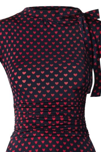 Retrolicious Heart Bombshell Navy Red Dress 106 39 12888