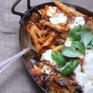 Baked Eggplant Parmesan Penne  - From feedmephoebe.com