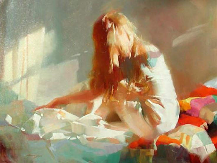 """Zhaoming Wu - """"Peaceful Morning""""; Chinese figurative artist who served as a professor of painting at the Guangzhou Academy of Fine Art"""