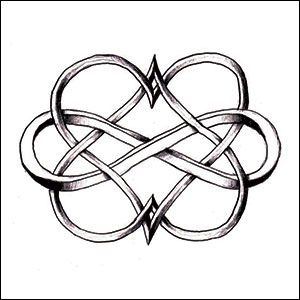 Double Heart Infinity - One with his name for me and one with my name for him.