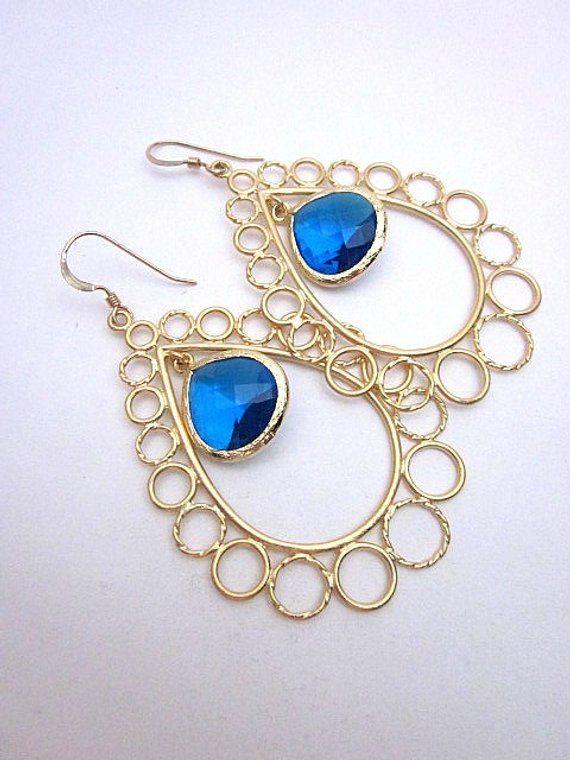 Blue Gold Teardrop Earrings Royal And Jewelry Statement Dark Gl Fashion In 2018