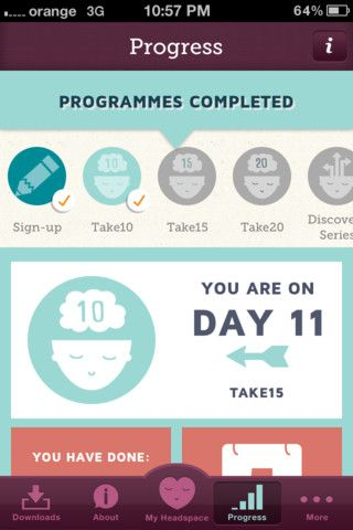 Headspace (on – the – go)  Get unique daily guided meditations, science facts and figures and progress reports, all designed to make it as easy as possible for you to get some calm and clarity.     http://itunes.apple.com/us/app/headspace-on-the-go/id493145008?mt=8