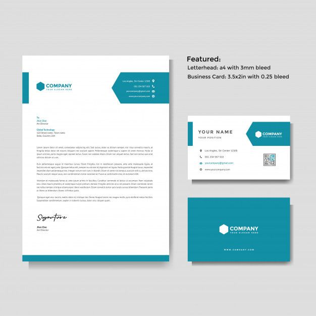Professional Creative Letterhead And Business Card Vector Template Business Cards Vector Templates Letterhead Business Letterhead Design