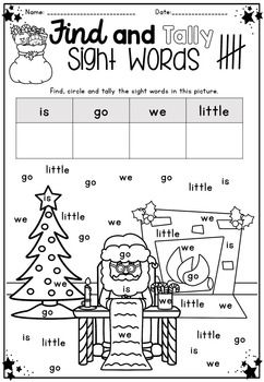 Christmas Math & Literacy Packet ~... Tally sight words Christmas activity worksheet Australian UK spelling included