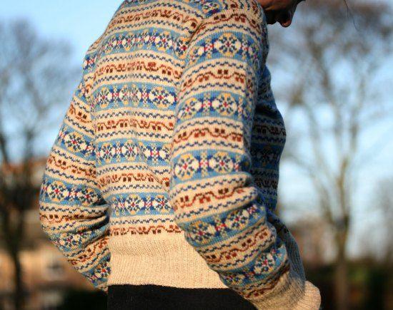 Kate Davies Designs. She used Shetland Heritage Wool to recreate the kind of yarn originally used for Fair Isle garments.