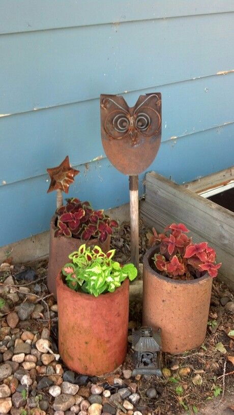 clay drainage pipe from the family farm repurposed as planters. Love it!