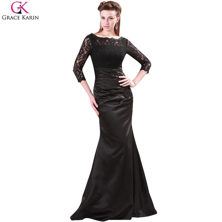 >> Click to Buy << Grace Karin Prom Dresses 2017 Satin Red Formal Party Gowns Promdress Black Lace Elegant Special Occasion Dresses With Sleeves #Affiliate