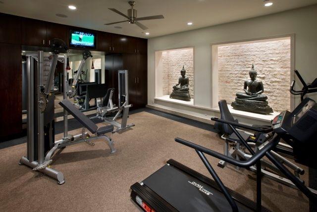 Home gym selber bauen  homegym einrichten zen ambiente buddha statuen wandnischen | Home ...