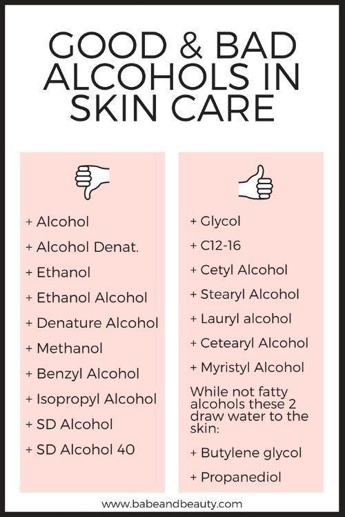 alkohol in der hautpflege – Produkt Namen & Bezeichnung