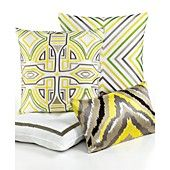 "Trina Turk Bedding, Ikat Retro Design 20"" Square Decorative Pillow"